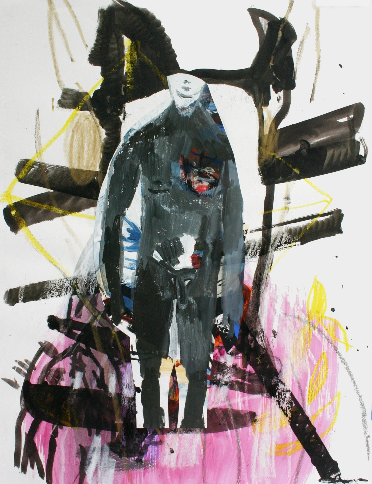 Emma Smith, Man in hole , Mixed media on paper, 420 x 594 mm, 2010