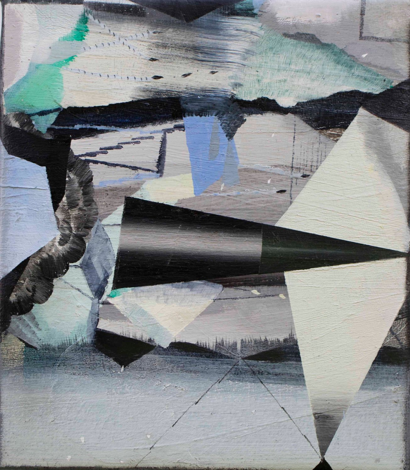 Emma Smith, As if through a crystal visor. 2220 x 190mm, Oil on canvas 2018